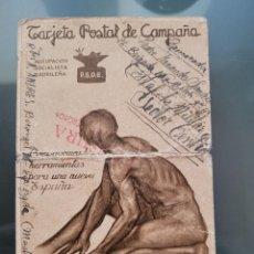 Postales: TARJETA POSTAL REPUBLICANA. PSOE. CIRCULADA AL FRENTE, CENSURA CUERPO DEL EJERCITO. Lote 281062713