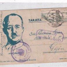 Postales: POSTAL PATRIÓTICA FRANCO, PRISIÓN PROVINCIAL CON CENSURA MILITAR OVIEDO CIRCULADA EN FEBRERO DE 1939. Lote 287680908