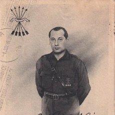 Postales: POSTAL PATRIÓTICA JOSÉ ANTONIO. FIRMA IMPRESA. CIRCULADA BURGOS 1938 CENSURA MILITAR.. Lote 287682848