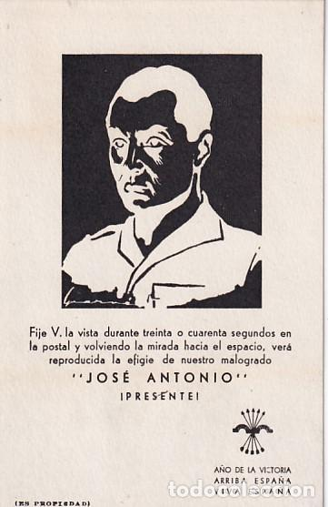 POSTAL PATRIÓTICA JOSÉ ANTONIO. JUEGO VISUAL. CURIOSOS SELLOS EN REVERSO. COLOBRANS BARCELONA (Postales - Postales Temáticas - Guerra Civil Española)