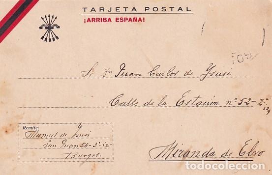 POSTAL PATRIÓTICA ARRIBA ESPAÑA. ENVIADA A MIRANDA DE EBRO. CIRCULADA SELLO DESPRENDIDO 1937 (Postales - Postales Temáticas - Guerra Civil Española)