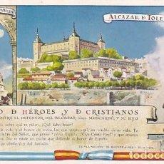 Postales: POSTAL PATRIÓTICA ALCÁZAR DE TOLEDO. GESTO DE HÉROES Y DE CRISTIANOS. ENVIADA A FRANCO. Lote 287686723