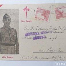 Postales: TARJETA POSTAL, VIVA FRANCO - VIVA ESPAÑA, CENSURA MILITAR SEGOVIA, CIRCULADA 18-4-1939. Lote 288601118