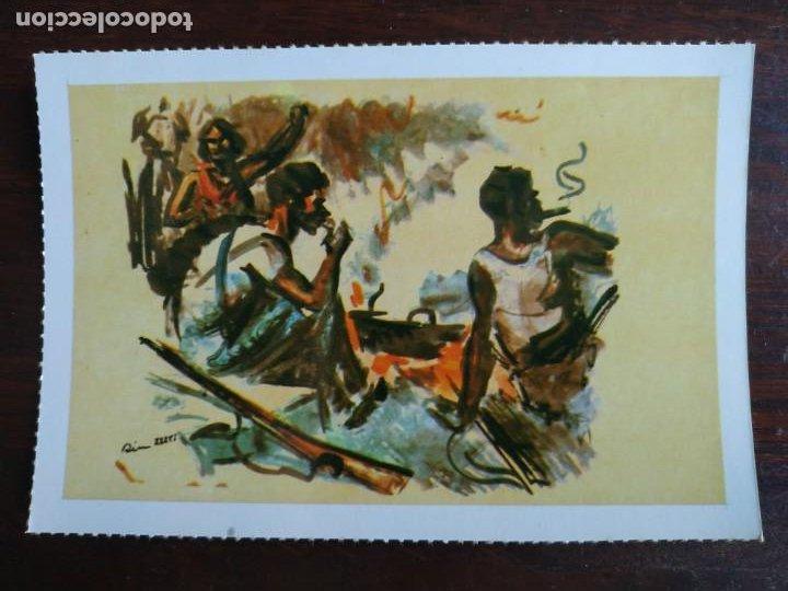Postales: Una postal sobre la guerra civil Española pintura a carboncillo coloreada 4 tarjetas a elegir - Foto 2 - 289865618