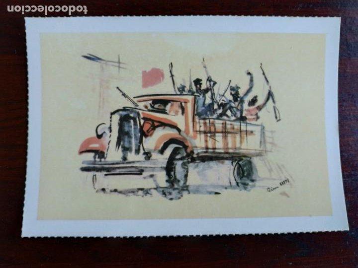Postales: Una postal sobre la guerra civil Española pintura a carboncillo coloreada 4 tarjetas a elegir - Foto 3 - 289865618