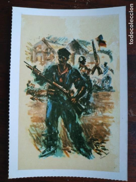 Postales: Una postal sobre la guerra civil Española pintura a carboncillo coloreada 4 tarjetas a elegir - Foto 4 - 289865618