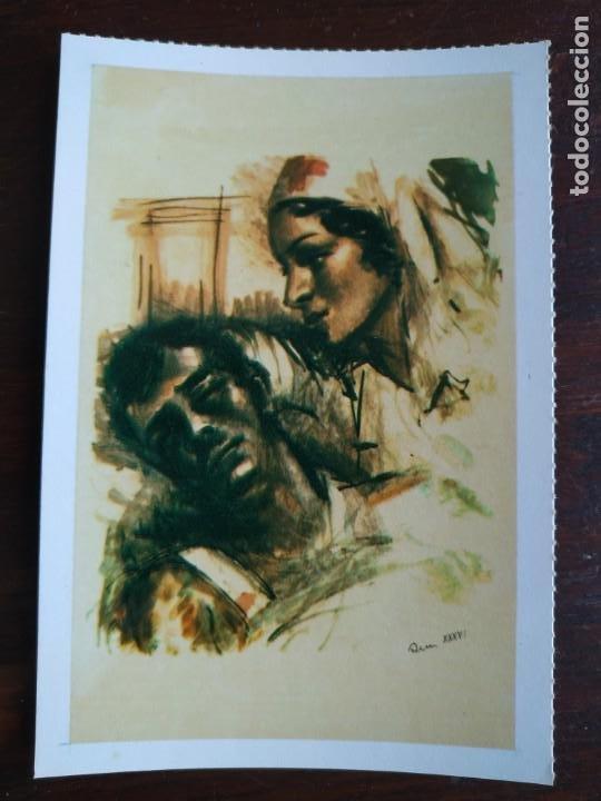 Postales: Una postal sobre la guerra civil Española pintura a carboncillo coloreada 4 tarjetas a elegir - Foto 5 - 289865618