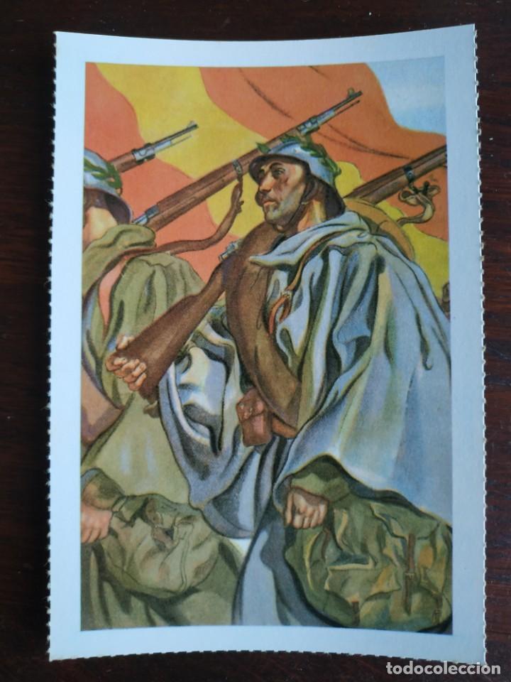 Postales: Una postal imagen falange española y guerra con marruecos pintura a carboncillo 4 tarjetas a elegir - Foto 2 - 289866738