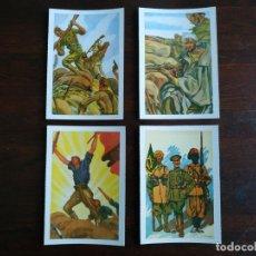 Postales: UNA POSTAL IMAGEN FALANGE ESPAÑOLA Y GUERRA CON MARRUECOS PINTURA A CARBONCILLO 4 TARJETAS A ELEGIR. Lote 289866933