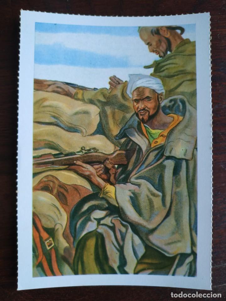 Postales: Una postal imagen falange española y guerra con marruecos pintura a carboncillo 4 tarjetas a elegir - Foto 3 - 289866933