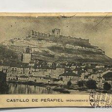 Postales: POSTAL CASTILLO DE PEÑAFIEL VALLADOLID, CON CENSURA MILITAR CÍRCULADA A LARACHE, MARRUECOS (A.1939). Lote 296070293