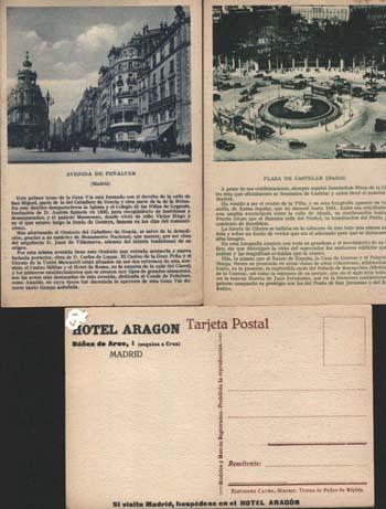 MADRID - HOTEL ARAGON (Postales - Postales Temáticas - Hoteles y Balnearios)