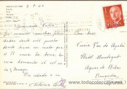 Postales: POSTAL A COLOR ARENYS DE MAR PUERTO FPTP A CAMPAÑA Y PUIG CIRC 1965 - Foto 2 - 11086357