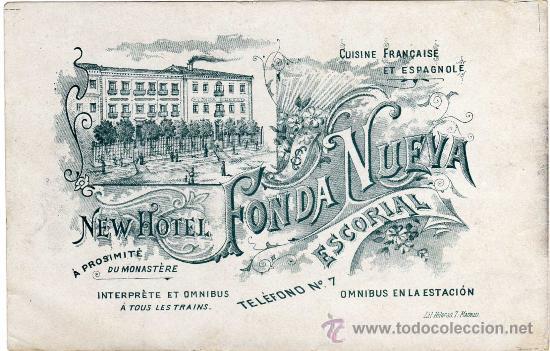 MAGNIFICA Y RARA POSTAL DOBLE - NEW HOTEL FONDA NUEVA - ESCORIAL (MADRID) (Postales - Postales Temáticas - Hoteles y Balnearios)
