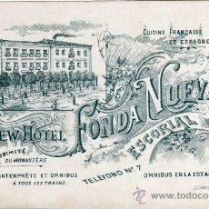 Postales: MAGNIFICA Y RARA POSTAL DOBLE - NEW HOTEL FONDA NUEVA - ESCORIAL (MADRID). Lote 24394121