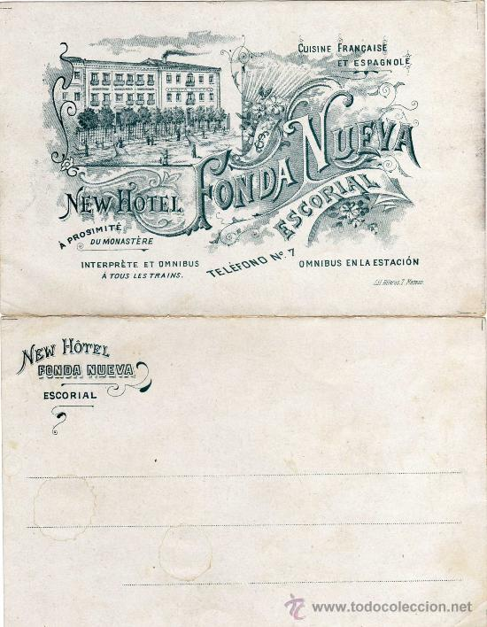 Postales: MAGNIFICA Y RARA POSTAL DOBLE - NEW HOTEL FONDA NUEVA - ESCORIAL (MADRID) - Foto 2 - 24394121