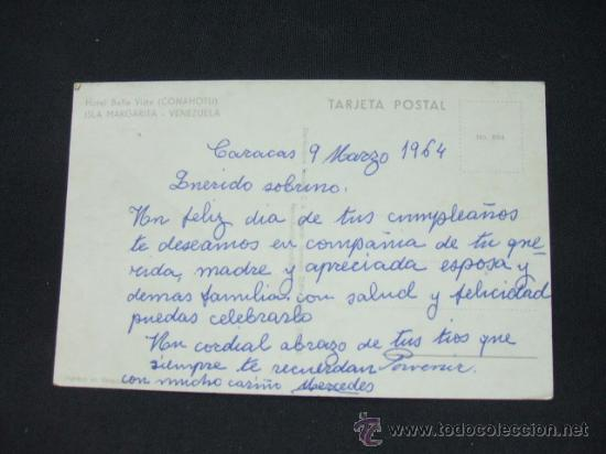 Postales: HOTEL BELLA VISTA - CONAHOTU - ISLA MARGARITA - VENEZUELA - - Foto 2 - 24587632
