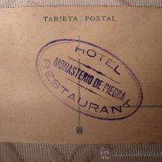 Postales: ANTIGUA TARJETA POSTAL ORIGINAL DE P.P.S.XX SELLO HOTEL MONASTERIO PIEDRA SERIE A Nº 2, C.1920. Lote 33272110
