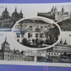 Postales: HOTEL JARDIN. EL ESCORIAL. H.A.E. ESCRITA. Lote 37011219