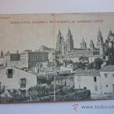 Postales: GRAN HOTEL EUROPA Y RESTAURANT SANTIAGO. CIRCULADA. Lote 37467075