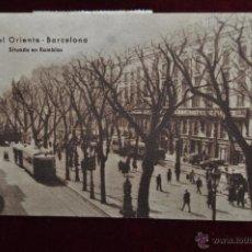 Postales: ANTIGUA POSTAL DE HOTEL ORIENTE. BARCELONA. SITUADO EN RAMBLAS. CIRCULADA. Lote 43090120