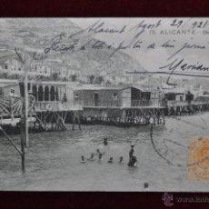 Postales: ANTIGUA POSTAL DE ALICANTE. BALNEARIOS. CIRCULADA. Lote 43174081