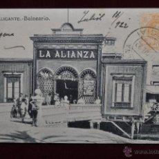 Postales: ANTIGUA POSTAL DE ALICANTE. BALNEARIO LA ALIANZA. CIRCULADA. Lote 43174215