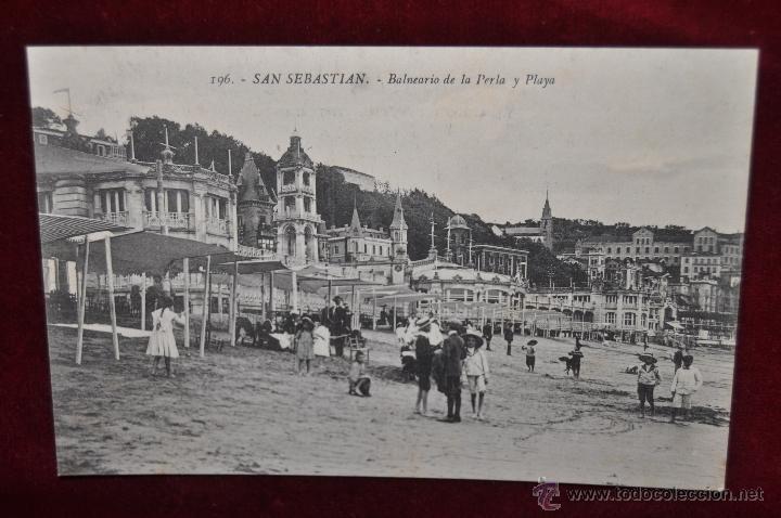 ANTIGUA POSTAL DE SAN SEBASTIAN. BALNEARIO DE LA PERLA Y PLAYA. SIN CIRCULAR (Postales - Postales Temáticas - Hoteles y Balnearios)