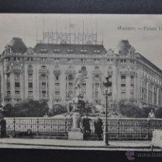 Postales: ANTIGUA POSTAL DE MADRID. PALACE HOTEL. SIN CIRCULAR. Lote 44891405