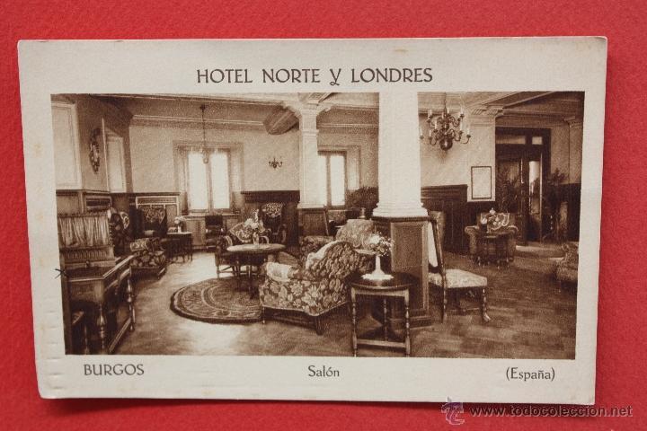 ANTIGUA POSTAL DE HOTEL NORTE Y LONDRES. BURGOS. SALON. ED. F. MESAS. SIN CIRCULAR (Postales - Postales Temáticas - Hoteles y Balnearios)