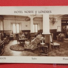 Postales: ANTIGUA POSTAL DE HOTEL NORTE Y LONDRES. BURGOS. SALON. ED. F. MESAS. SIN CIRCULAR. Lote 45162367