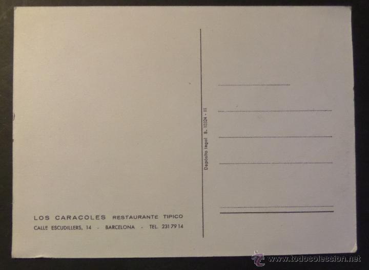 Postales: Antigua postal del Restaurante Los Caracoles, Casa Bofarull de Barcelona con firma del propietario - Foto 2 - 45838910