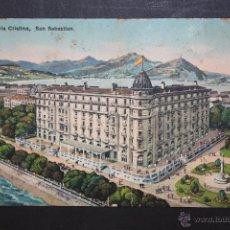 Postales: ANTIGUA POSTAL DEL HOTEL MARIA CRISTINA. SAN SEBASTIAN. ESCRITA. Lote 45938362