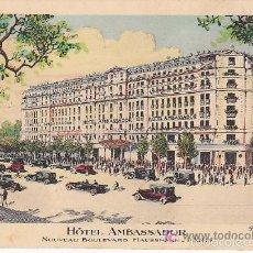 Postales: PS1917 PARÍS 'HOTEL AMBASSADOR'. NOUVEAU BOULEVARD HAUSSMANN. Lote 57125425
