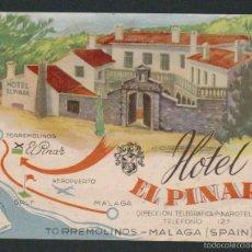 Postales: POSTAL PUBLICITARIA DEL HOTEL EL PINAR.TORREMOLINOS.MÁLAGA.CIRCULADA EN 1957.TAMAÑO: 15 X 11 CTMS.. Lote 57838220