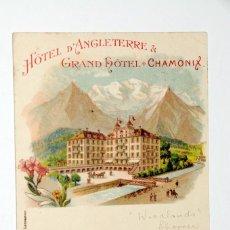 Postales: HOTEL D´ANGLETERRE. CHAMONIX. POSTAL PUBLICITARIA ORIGINAL. AÑOS 1900S. Lote 58115035