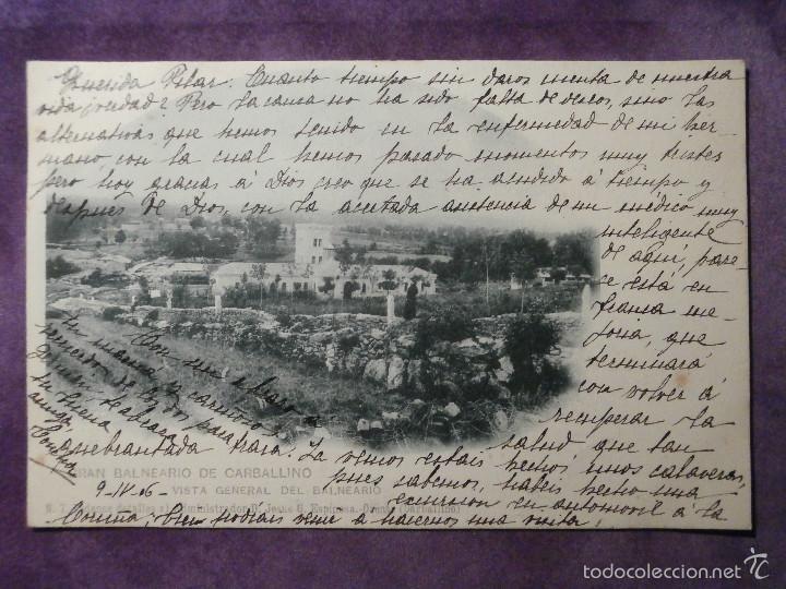 POSTAL - ESPAÑA - ORENSE - GRAN BALNEARIO DE CARBALLINO - VISTA GENERAL - HAUSER Y MENET - AÑO 1906 (Postales - Postales Temáticas - Hoteles y Balnearios)