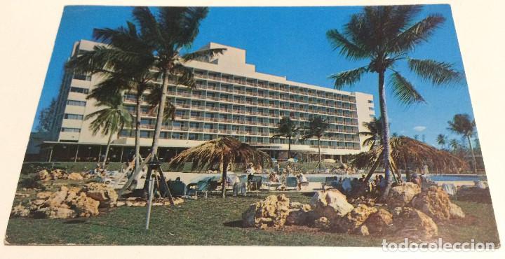 POSTAL VINTAGE. HOTEL SAN JUAN INTERCONTINENTAL, PUERTO RICO. CIRCULADA CON SELLO. MATASELLOS 1958. (Postales - Postales Temáticas - Hoteles y Balnearios)