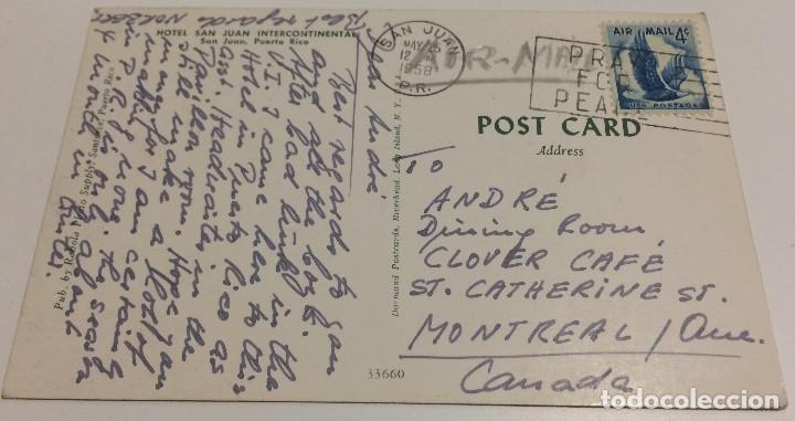 Postales: Postal vintage. Hotel San Juan Intercontinental, Puerto Rico. Circulada con sello. Matasellos 1958. - Foto 2 - 70585105