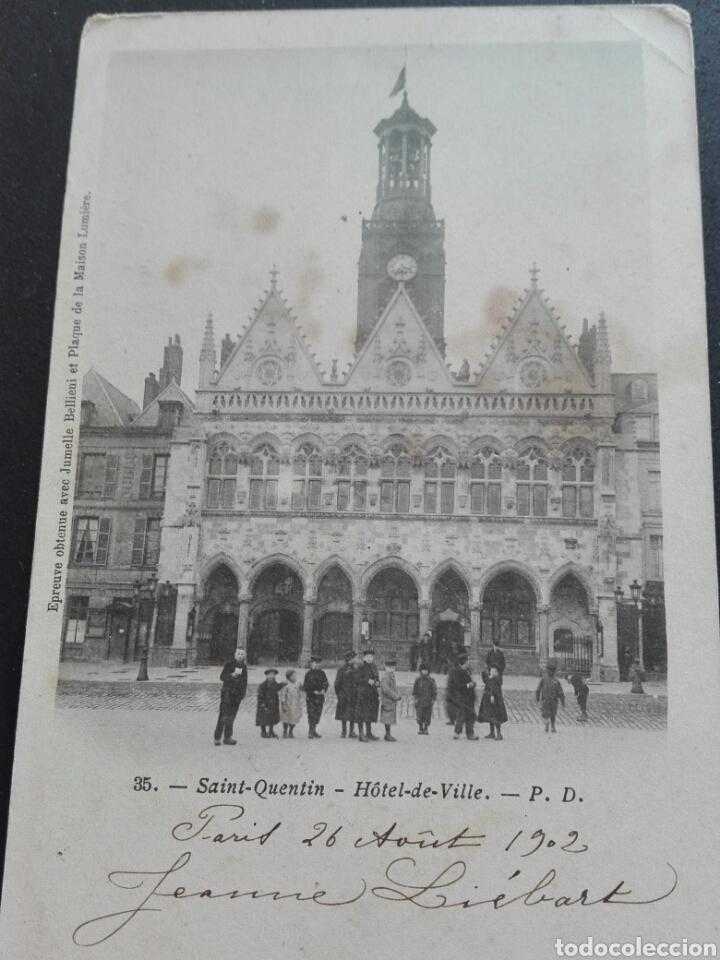 35 SAN QUINTÍN HOTEL DE VILLE PARÍS 26 AGOSTO 1902 (Postales - Postales Temáticas - Hoteles y Balnearios)