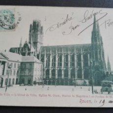 Postales: PLAZA DEL HOTEL DE VILLE ROUEN 19 ABRIL 1906. Lote 71536685