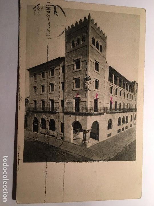 RM400 TARJETA POSTAL ORIGINAL AÑOS 50 CIRCULADA SANTIAGO HOTEL COMPOSTELA (Postales - Postales Temáticas - Hoteles y Balnearios)