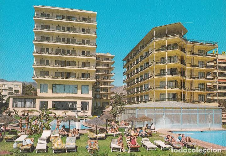 POSTAL HOTEL AMARAGUA Y HOTEL JORGE V. COSTA DEL SOL - TORREMOLINOS (MALAGA) (Postales - Postales Temáticas - Hoteles y Balnearios)