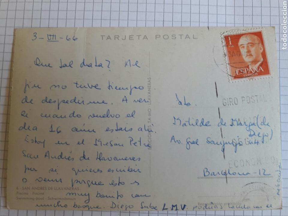 Postales: Postal circulada Llavaneras 1966 - Foto 2 - 94382239