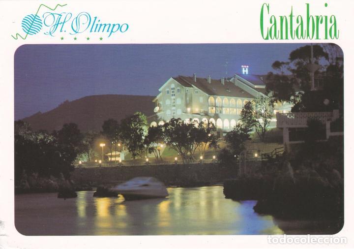 POSTAL PUBLICITARIA HOTEL OLIMPO. ISLA (CANTABRIA) - MAPA CANTABRIA EN EL REVERSO (Postales - Postales Temáticas - Hoteles y Balnearios)