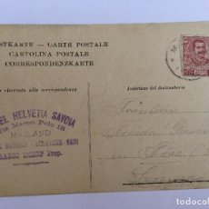 Postales: ANTIGUA POSTAL ORIGINAL CIRCULADA SELLO Y MATASELLO P.P.S.XX 1900 APROX MILANO HOTEL HELVETIA SAVOIA. Lote 96931883