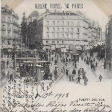 Postales: P- 7584. POSTAL GRAND HOTEL DE PARIS. MADRID. PUERTA DEL SOL. . Lote 98861451