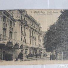 Postales: MONTE-CARLO HOTEL DE LONDRES BOULEVARD DES MOULINS. Lote 128477663
