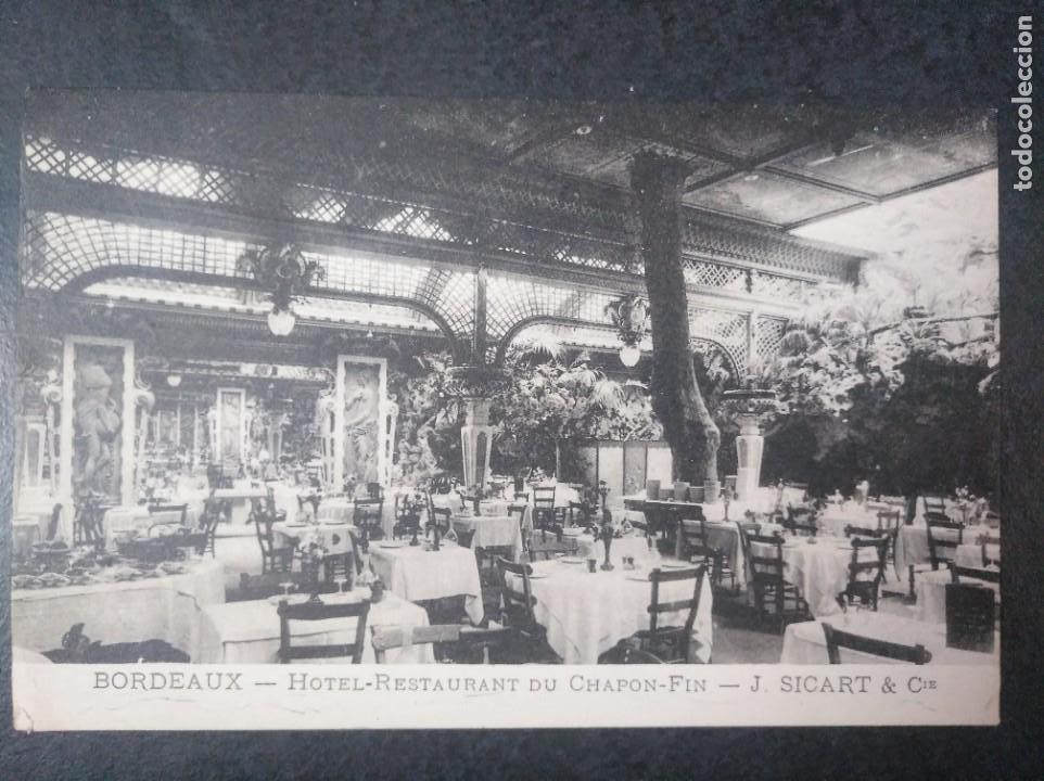 TARJETA HOTEL RESTAURANTE DU CHAPON FIN. BORDEAUX BURDEOS (Postales - Postales Temáticas - Hoteles y Balnearios)