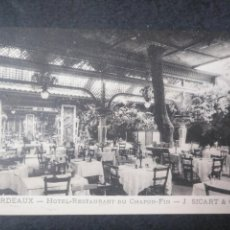 Postales: TARJETA HOTEL RESTAURANTE DU CHAPON FIN. BORDEAUX BURDEOS. Lote 131770854